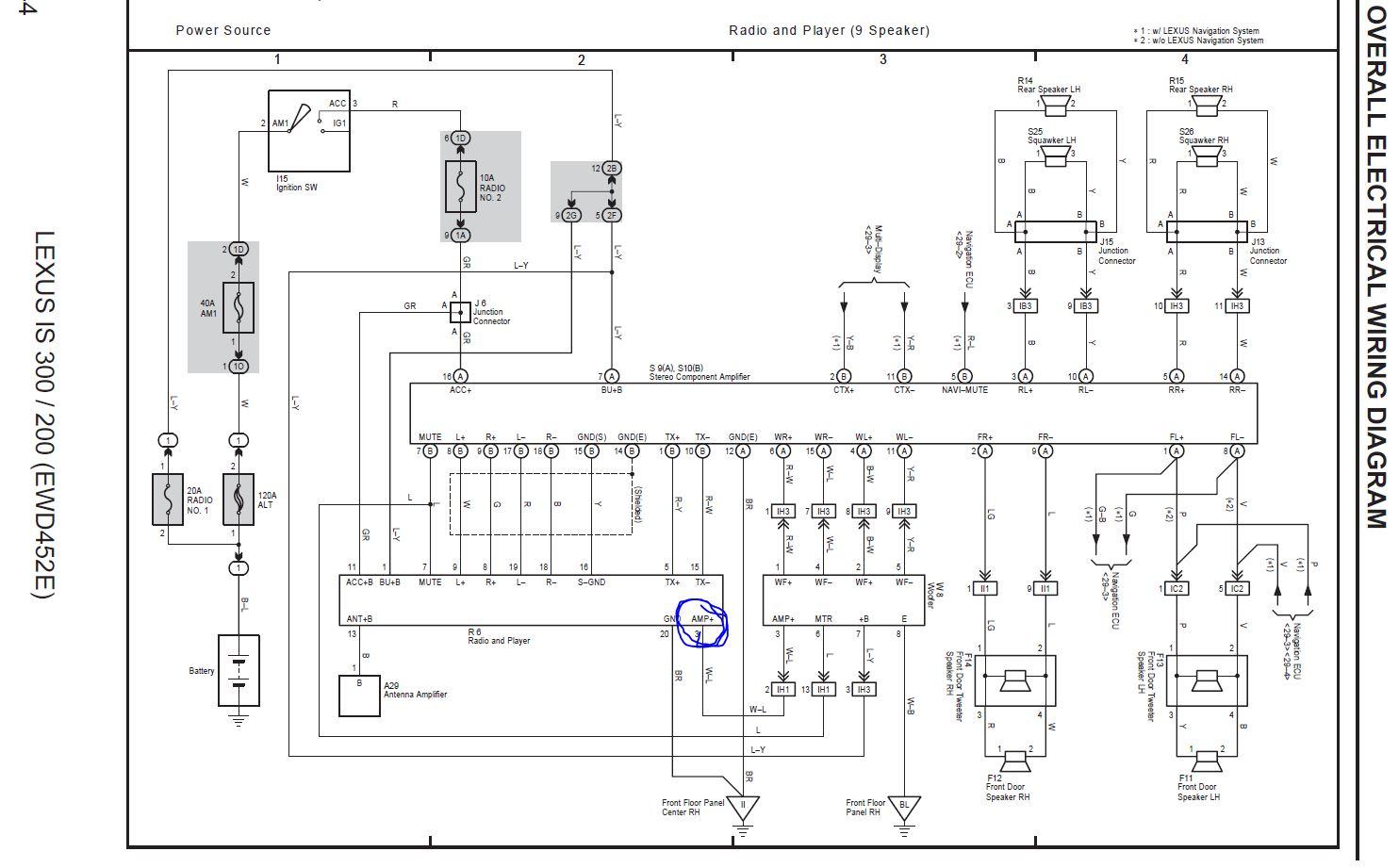 Sportcross Stereo Replacement Questions | Lexus IS Forum on amplifier circuit, amplifier power supply, amplifier installation, amplifier chassis, amplifier capacitor, circuit diagram, car stereo amp installation diagram, amplifier block diagram, amplifier parts, amplifier cable, amplifier schematic, bridging 4 channel amp diagram, amplifier cooling system, amplifier speaker, simple amplifier diagram,